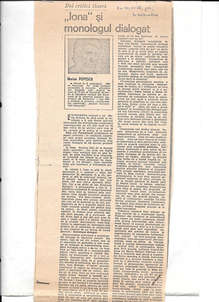 Primul articol publicat. 1975