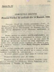 Proces verbal 14 nov 1926