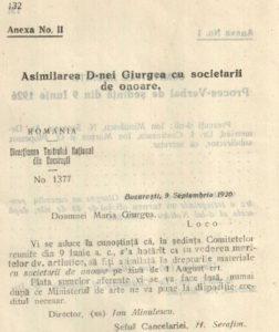 Recunoașterea meritelor artistice 9 iunie 1926
